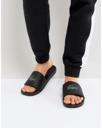 Lacoste - Fraisier Croc Sliders In Black - Lyst