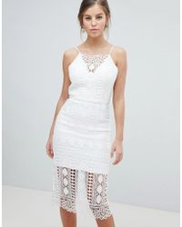 Chi Chi London - Lace Midi Dress With V Back - Lyst