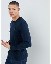 Abercrombie & Fitch - Core Icon Logo Crew Neck Knit Jumper In Navy - Lyst