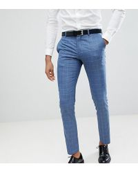 SELECTED - Skinny Fit Suit Trouser In Navy Grid Check - Lyst