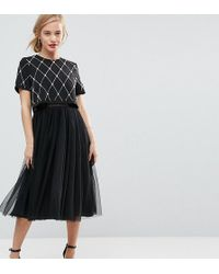 ASOS - Embellished Crop Top Midi Tulle Prom - Lyst