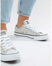 beffce49fafc73 Lyst - Converse Chuck Taylor Ox Sneakers In Gray Leather in Gray