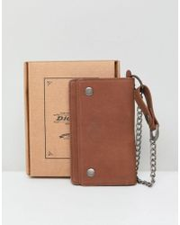 Dickies - Deedsville Leather Wallet With Chain In Brown - Lyst