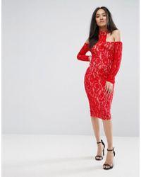 AX Paris - Red T-bar Lace Choker Midi Dress - Lyst