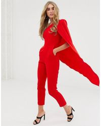Lavish Alice - Figurbetonter, roter Jumpsuit mit One-Shoulder-Trger und Cape - Lyst