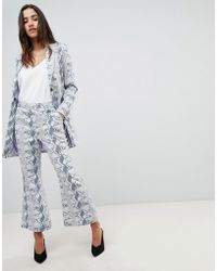 UNIQUE21 - Unique 21 Cropped Flare Trouser In Snake Print Co-ord - Lyst