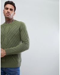 Bershka - Cable Knit Jumper In Olive Green - Lyst