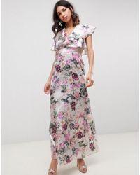 ASOS - Lace Insert Ruffle Maxi Dress In Pretty Floral Print - Lyst