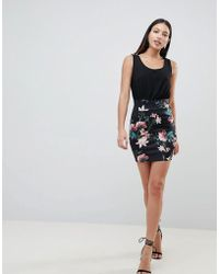 AX Paris - 2-in-1 Cami Skater Dress With Tropical Floral Skirt - Lyst