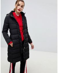 Emporio Armani - Longline Padded Coat With Branded Taping - Lyst