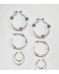 ASOS - Pack Of 3 Wrapped Rope And Ball Hoop Earrings - Lyst