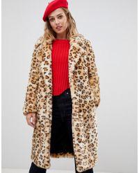 Urbancode - Leopard Longline Faux Fur Coat - Lyst