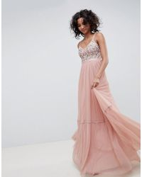 Needle & Thread - Embroidered Tulle Maxi Dress With Cami Straps In Vintage Rose - Lyst