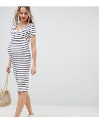 ASOS - Asos Design Maternity Midi Short Sleeve Bodycon Dress With Popper Front In Stripe - Lyst