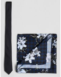 ASOS - Black Tie And Checkerboard Floral Pocket Square Set - Lyst
