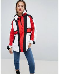 ASOS - Oversized Padded Anorak In Colourblock With Straps - Lyst