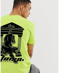 ASOS - Relaxed Fit T-shirt With Flocked Back Panther Print In Neon Green - Lyst