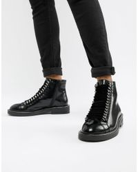 ASOS - Amellie Leather Lace Up Chain Ankle Boots - Lyst