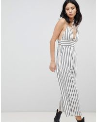 Honey Punch - Plunge Front Jumpsuit In Stripe - Lyst