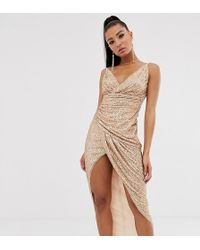 TFNC London Wrap Front Sequin Maxi Dress In Rose Gold