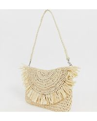 South Beach - Exclusive Frayed Edge Natural Straw Clutch Bag With Detachable Shoulder Strap - Lyst