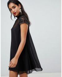 Lipsy - Swing Babydoll Dress With Lace Sleeve - Lyst
