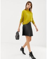 Pieces - Leather Look Pleated Skirt - Lyst