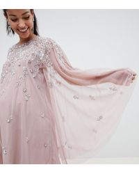 895551df227 ASOS - Asos Design Maternity Mini Dress With Heavily Embellished Cape - Lyst