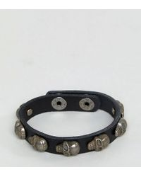 Reclaimed (vintage) - Inspired Leather Skull Bangle In Black Exclusive To Asos - Lyst