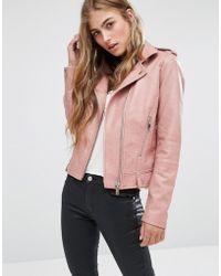 Mango - Leather Look Biker Jacket - Blush - Lyst