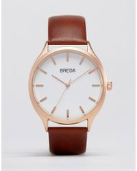 Breda - Meter Brown Leather Watch With Gold Face - Lyst