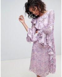 Ghost - Long Sleeve Printed Midi Dress - Lyst