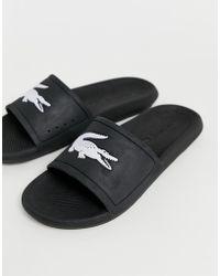 Lacoste - Croco Sliders In Black - Lyst