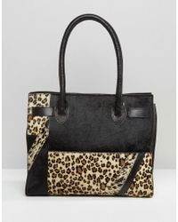 Urbancode - Leather And Leopard Mix Tote Bag - Lyst