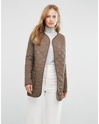 Cooper & Stollbrand - Quilted Bomber Jacket In Khaki - Lyst