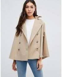 Cooper & Stollbrand - Short Showerproof Cape With Hood In Stone - Lyst