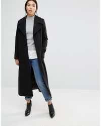 Cooper & Stollbrand - Longline Wool Trench In Black - Lyst