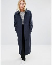 Cooper & Stollbrand - Oversized Relaxed Fit Duster Coat In Speckled Navy Wool - Lyst