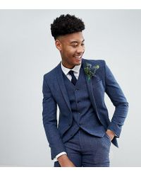 ASOS - Tall Wedding Super Skinny Suit Jacket In Petrol Blue Herringbone - Lyst