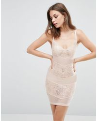 Wolf & Whistle - Lace And Mesh Dress Blush - Lyst