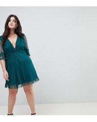 ASOS - Dobby Knot Front Lace Trim Mini Skater Dress - Lyst