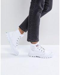 Palladium - Pampa White Hi Rive Gauche Flat Ankle Boots - Lyst
