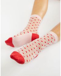 PS by Paul Smith - Ps By Paul Smith Metallic Red Spot Sock - Lyst