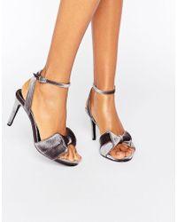 Warehouse - Velvet Bow Heeled Sandals - Lyst