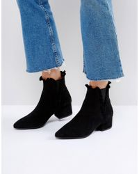 Sixtyseven - Black Suede Ruffle Ankle Boots - Lyst