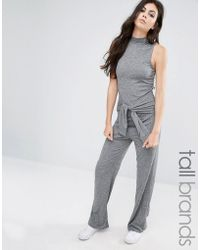 Noisy May Tall - Roll Neck Sleeveless Jersey Jumpsuit With Tie Waist - Lyst