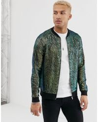 ASOS - Poly Tricot Bomber Jacket In Coloured Zebra Print - Lyst