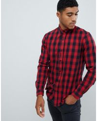 Pull&Bear - Slim Fit Shirt In Red Check - Lyst