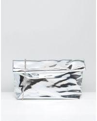 Missguided Metallic High Shine Roll Top Clutch Bag