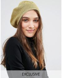 Stitch & Pieces - Metallic Gold Knit Beret - Gold - Lyst